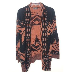 Whispers black and rust Aztec draped cardigan